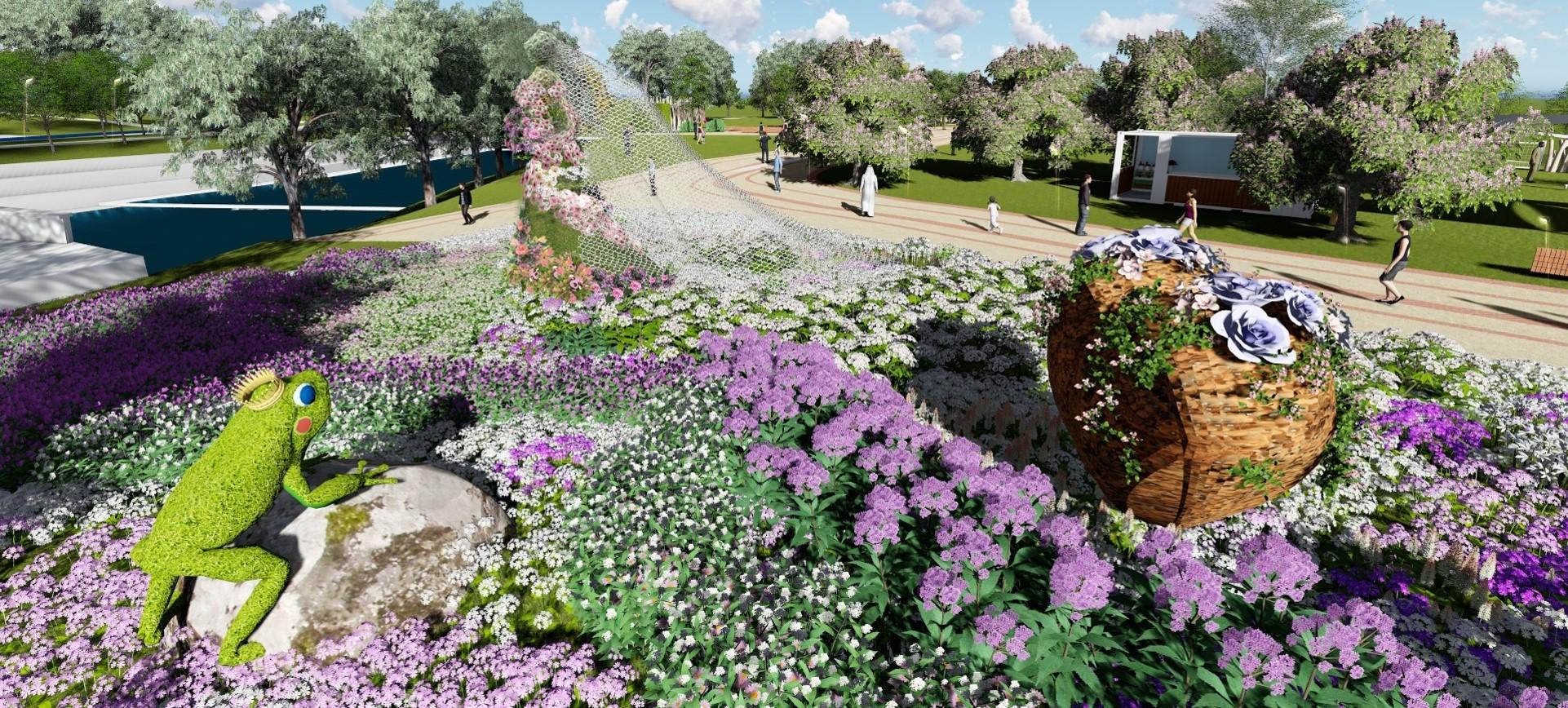 植物混色打造漸層新娘頭紗 花博豐原園區感動呈現
