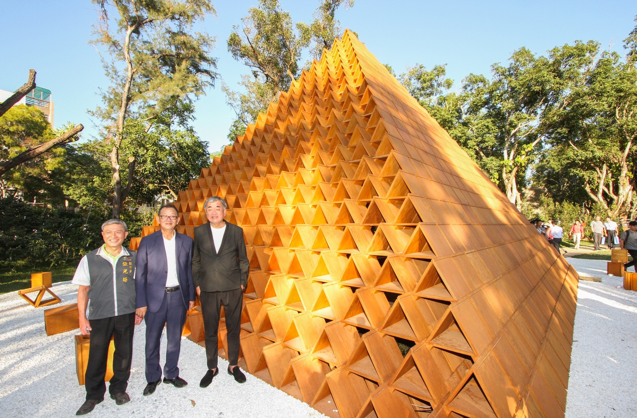 Japanese architects create the Flora Expo triangle building block concept hall to display more than a thousand varieties of camellia