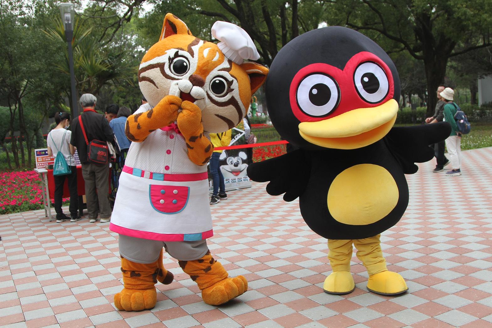 花蓮紅面鴨與台中虎媽相見歡 吉祥物遊花博宣傳花東縣市週
